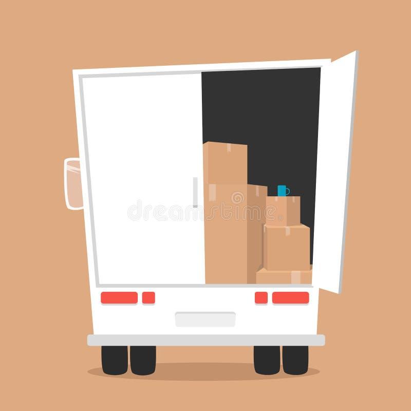Κίνηση με τα κιβώτια Επιχείρηση μεταφορών απεικόνιση αποθεμάτων