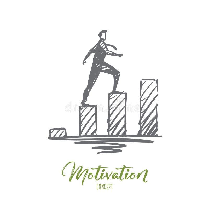 Κίνητρο, επιχείρηση, επιτυχία, σταδιοδρομία, έννοια προόδου Συρμένο χέρι απομονωμένο διάνυσμα απεικόνιση αποθεμάτων