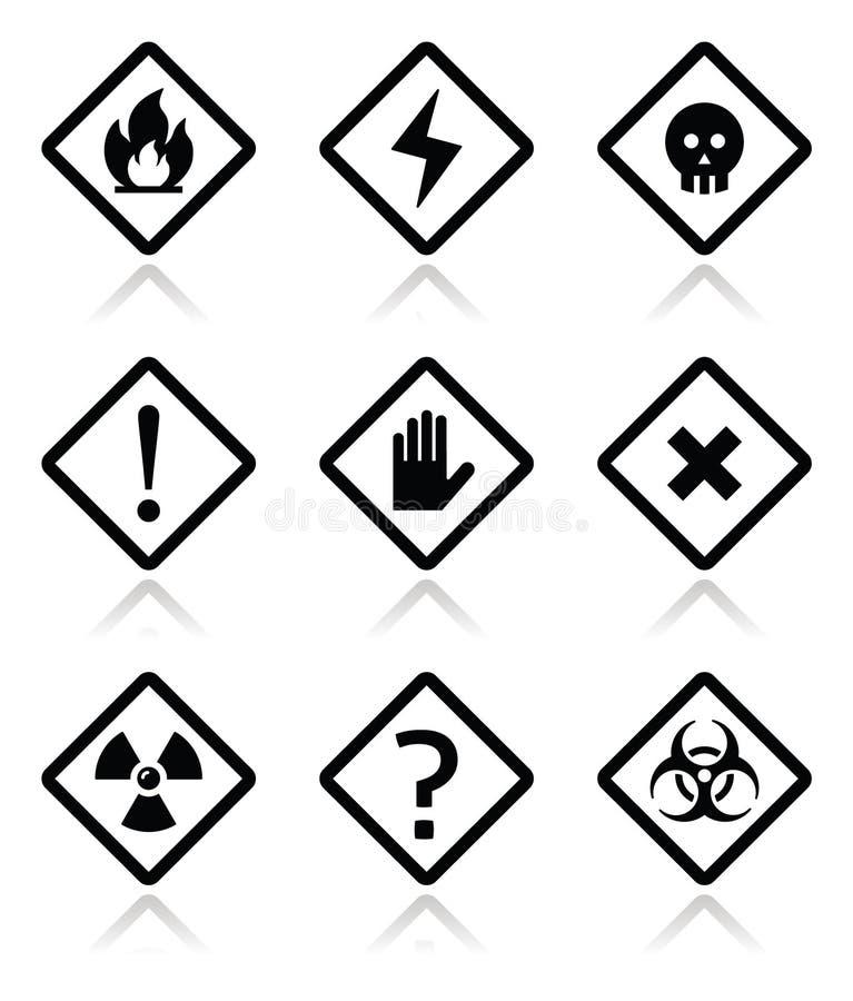 Κίνδυνος, προειδοποίηση, τετραγωνικά εικονίδια προσοχής καθορισμένα διανυσματική απεικόνιση