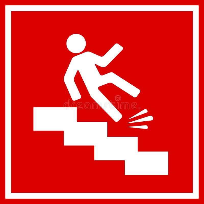 Κίνδυνος πτώσης, ολισθηρά σκαλοπάτια ελεύθερη απεικόνιση δικαιώματος