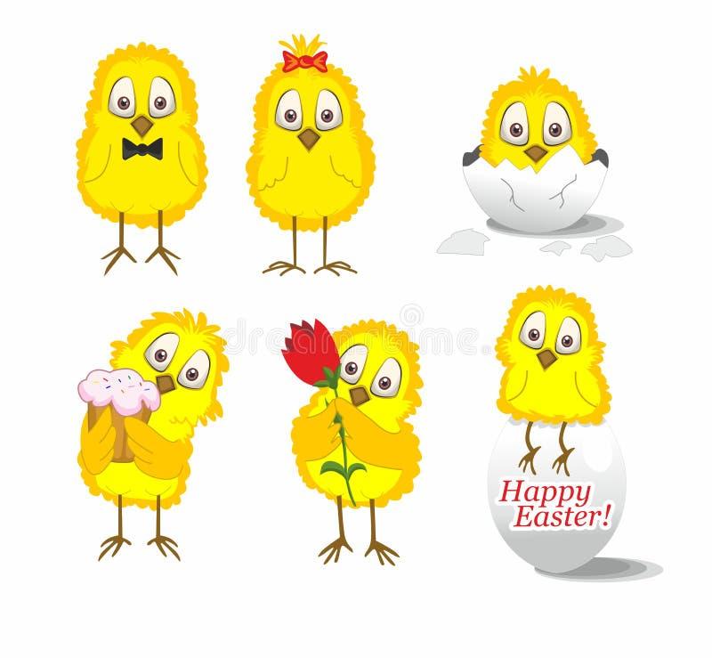 Κίτρινα αστεία κοτόπουλα σε ένα άσπρο υπόβαθρο διανυσματική απεικόνιση
