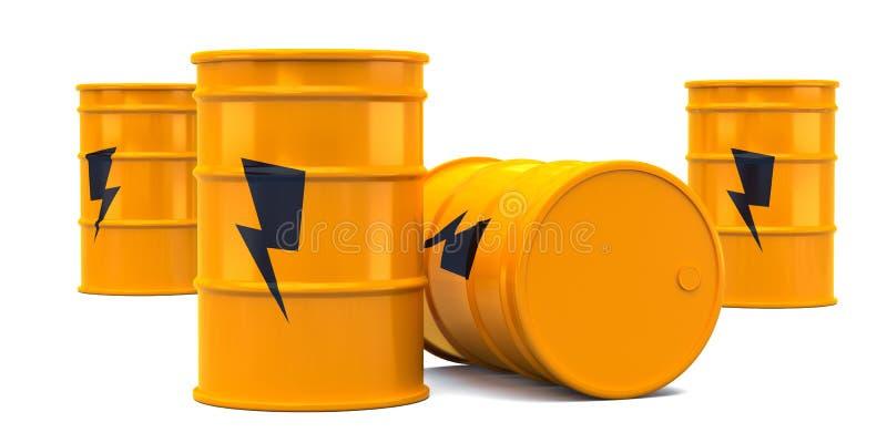 Κίτρινα βαρέλια ενεργειακού πετρελαίου δύναμης που απομονώνονται στο άσπρο υπόβαθρο r διανυσματική απεικόνιση