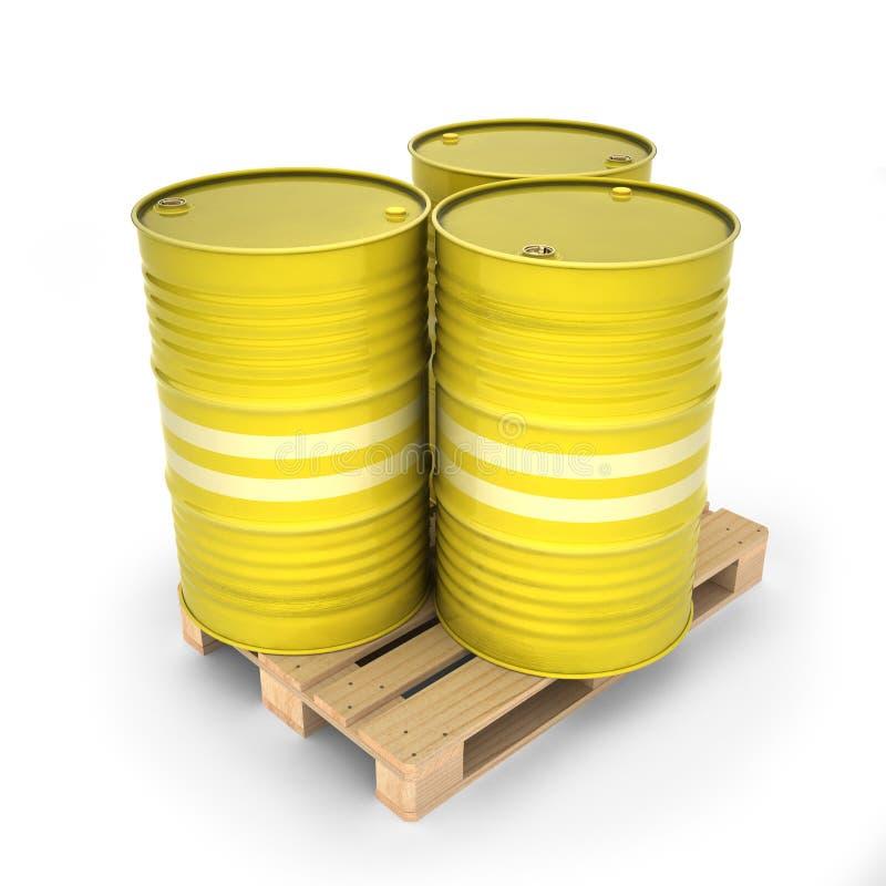 Κίτρινα βαρέλια σε μια παλέτα διανυσματική απεικόνιση