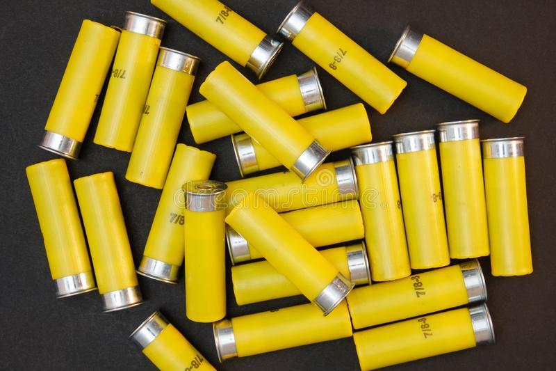 Κίτρινα βλήματα με πυροβόλα όπλα 20 gauge στοκ εικόνες