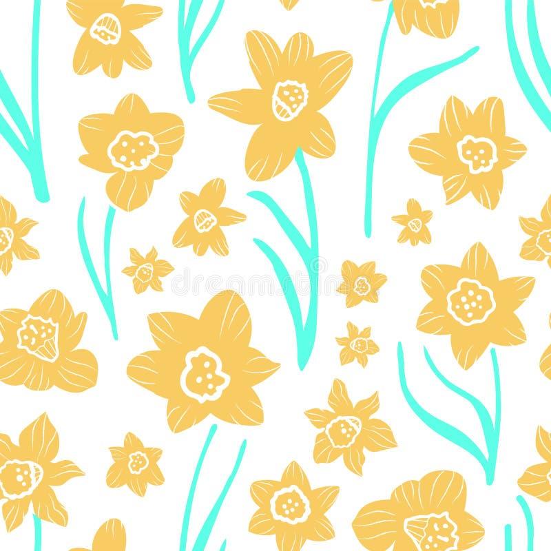 Κίτρινα και μπλε daffodils qua στο σαφές άσπρο υπόβαθρο σε ένα λαϊκό αφελές ύφος τέχνης E απεικόνιση αποθεμάτων