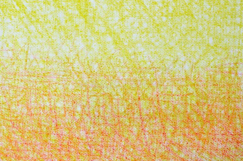 Κίτρινα και πορτοκαλιά σχέδια κραγιονιών στην άσπρη σύσταση υποβάθρου στοκ εικόνες