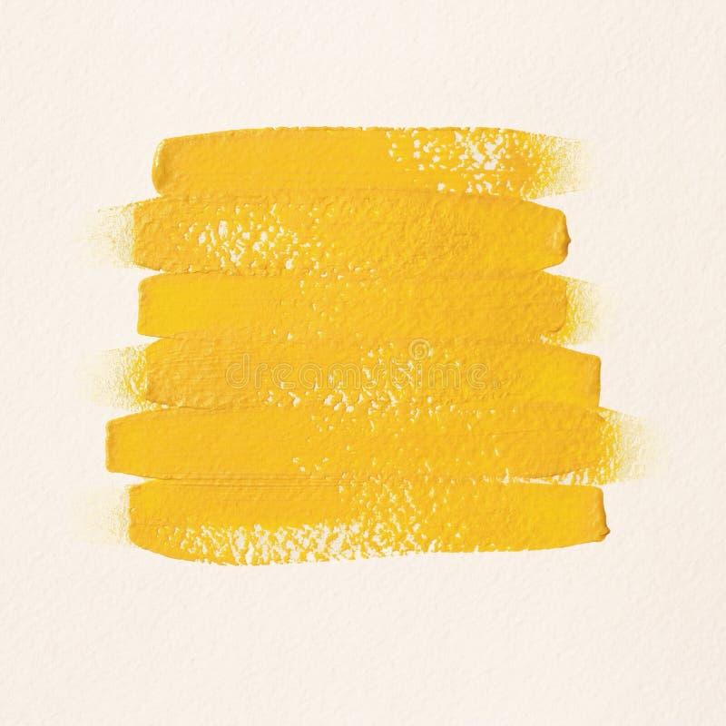 Κίτρινα κτυπήματα βουρτσών στο άσπρο κατασκευασμένο υπόβαθρο απεικόνιση αποθεμάτων