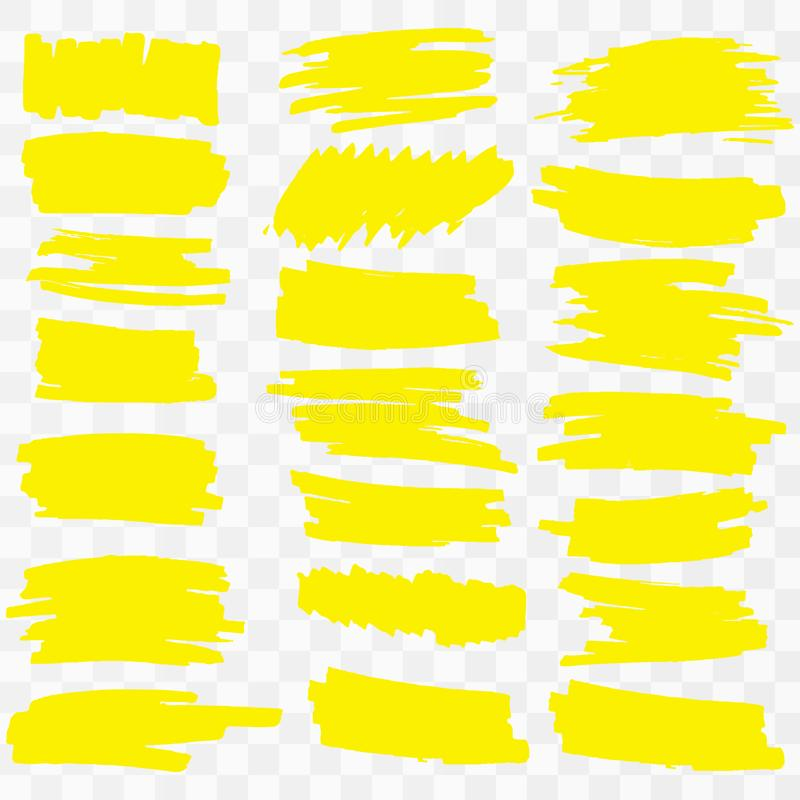 Κίτρινα κτυπήματα δεικτών highlighter απεικόνιση αποθεμάτων