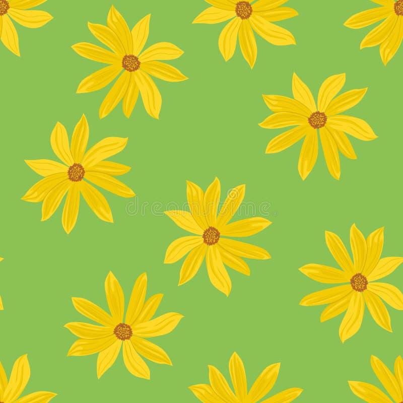 Κίτρινα λουλούδια στο πράσινο υπόβαθρο Ανθίζοντας άνευ ραφής σχέδιο αγκιναρών της Ιερουσαλήμ ελεύθερη απεικόνιση δικαιώματος