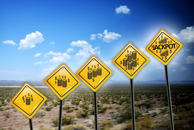 Κίτρινα οδικά σημάδια τζακ ποτ στοκ φωτογραφία με δικαίωμα ελεύθερης χρήσης