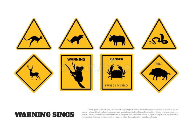 Κίτρινα προειδοποιητικά σημάδια ζώων Σύνολο αυτοκόλλητων ετικεττών και εικονιδίων κινδύνου ελεύθερη απεικόνιση δικαιώματος