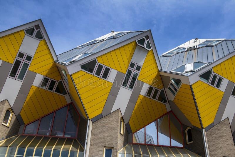 Κίτρινα σπίτια κύβων, Ρότερνταμ, Ολλανδία στοκ φωτογραφίες