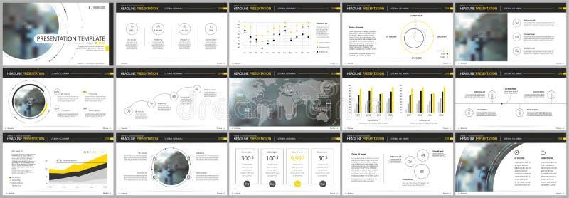 Κίτρινα στοιχεία προτύπων παρουσίασης σε ένα άσπρο υπόβαθρο Διανυσματικό infographics απεικόνιση αποθεμάτων
