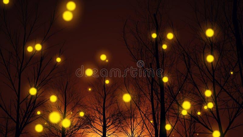 Κίτρινα φω'τα σε ένα δάσος φθινοπώρου ελεύθερη απεικόνιση δικαιώματος