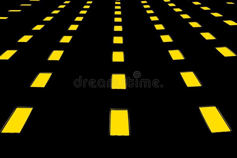 Κίτρινα φω'τα στη μεγάλη ουρά διανυσματική απεικόνιση