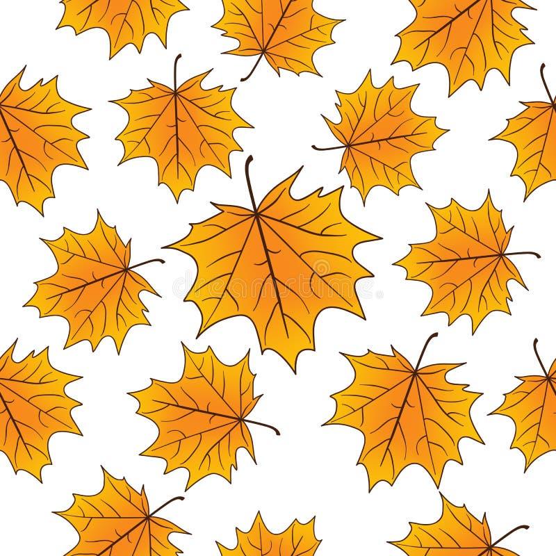 Κίτρινα φύλλα σφενδάμου πέρα από το άσπρο άνευ ραφής σχέδιο διάνυσμα ανασκόπησης φθινοπώρου eps8 διανυσματική απεικόνιση