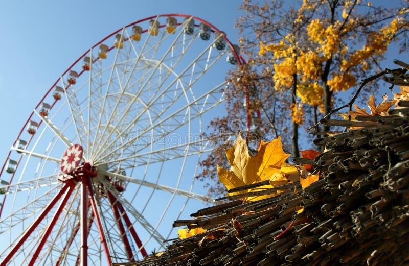 Κίτρινα φύλλα φθινοπώρου στη ρόδα Ferris υποβάθρου στο πάρκο στοκ εικόνες