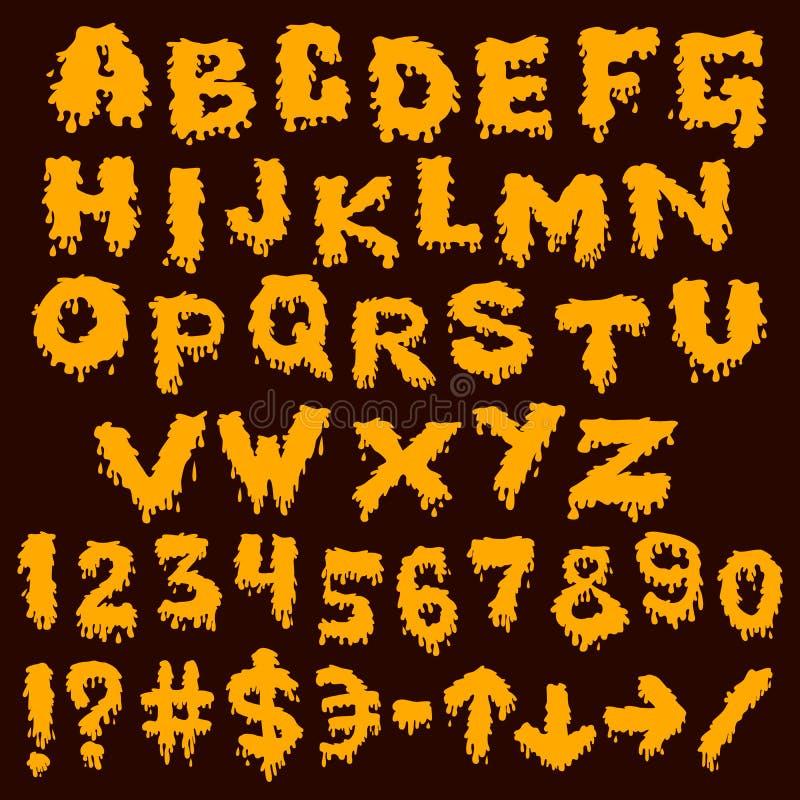 Κίτρινα smudges πηγών ράντισμα αλφάβητου απεικόνιση αποθεμάτων