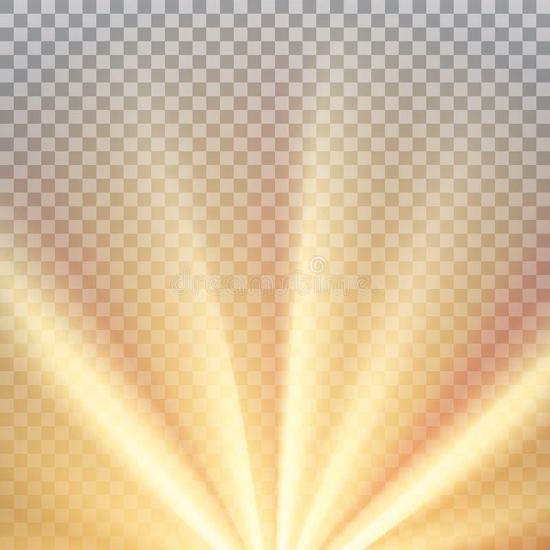 Κίτρινες ακτίνες ήλιων με τη θερμή πορτοκαλιά φλόγα ελεύθερη απεικόνιση δικαιώματος