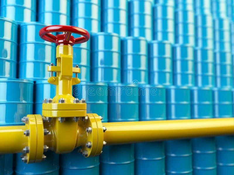 Κίτρινες βαλβίδες γραμμών σωλήνων αερίου και μπλε βαρέλια πετρελαίου Καύσιμα και energ ελεύθερη απεικόνιση δικαιώματος