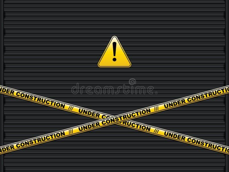 Κίτρινες γραμμές με το κατώτερο κείμενο κατασκευής στην πόρτα γκαράζ παραθυρόφυλλων κυλίνδρων διανυσματική απεικόνιση