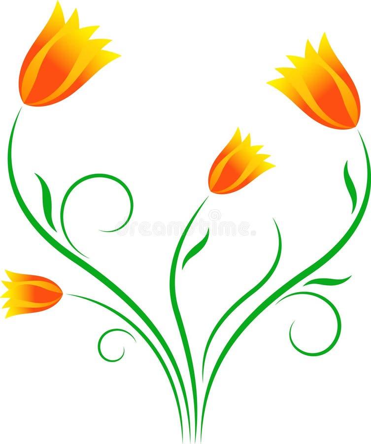 Κίτρινες τουλίπες, πορτοκαλιές τουλίπες, απεικόνιση λουλουδιών διανυσματική απεικόνιση