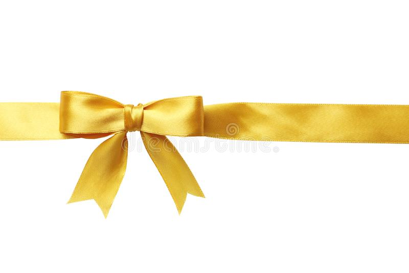 Κίτρινες τόξο και κορδέλλα που απομονώνονται στο άσπρο υπόβαθρο στοκ φωτογραφία