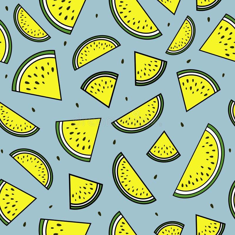 Κίτρινες φέτες του καρπουζιού πρότυπο άνευ ραφής ελεύθερη απεικόνιση δικαιώματος