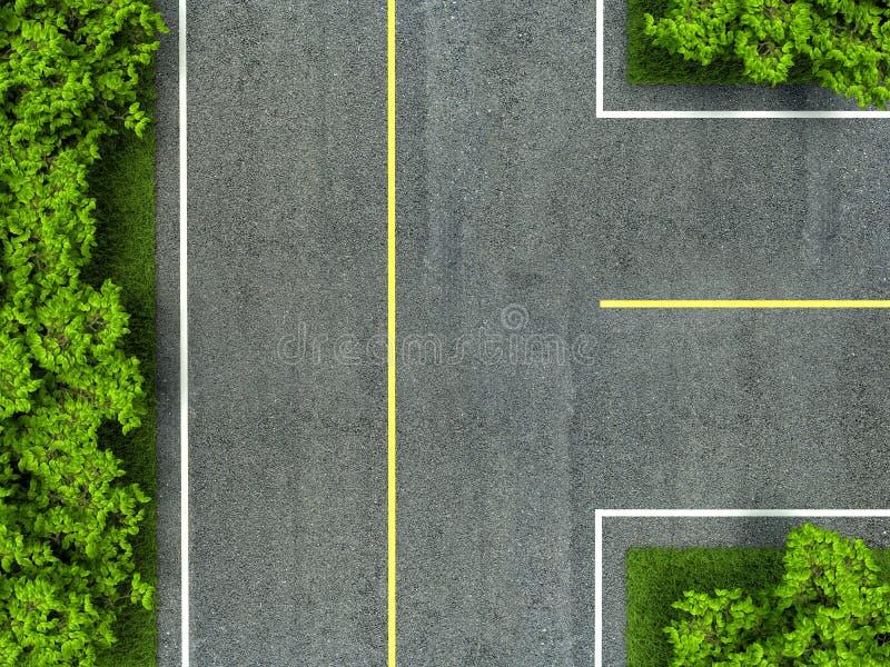 Κίτρινης και άσπρης γραμμή οδικής σύστασης ασφάλτου, στο δρόμο απεικόνιση αποθεμάτων