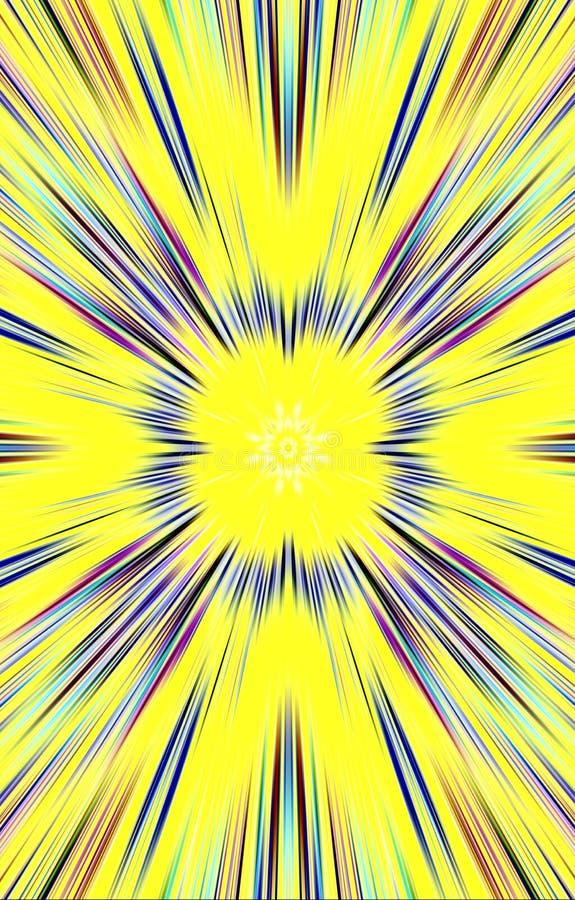 Κίτρινη ανασκόπηση Σχέδιο των χρωματισμένων λουρίδων, ακτίνες από τη μέση στις άκρες απεικόνιση αποθεμάτων
