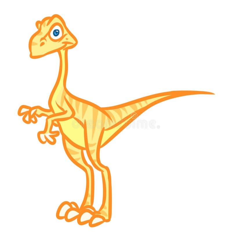 Κίτρινη απεικόνιση κινούμενων σχεδίων oviraptor δεινοσαύρων ελεύθερη απεικόνιση δικαιώματος
