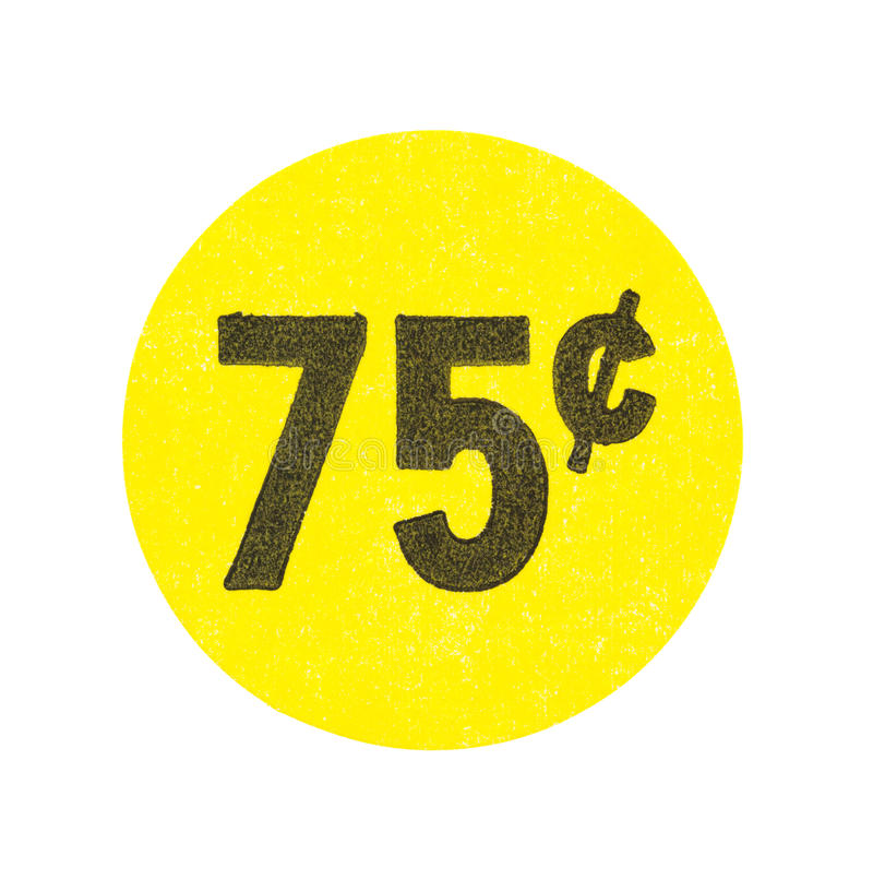 Κίτρινη αυτοκόλλητη ετικέττα πώλησης γκαράζ εβδομήντα πέντε σεντ στοκ φωτογραφία με δικαίωμα ελεύθερης χρήσης