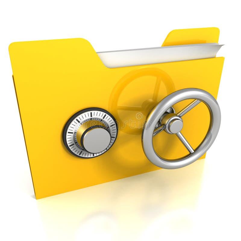 Κίτρινη γραμματοθήκη με το ασφαλές κλείδωμα. Έννοια ασφαλείας δεδομένων. απεικόνιση αποθεμάτων