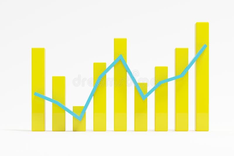 Κίτρινη επιτυχής γραφική παράσταση φραγμών στο άσπρο υπόβαθρο στοκ εικόνες