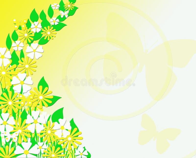 Κίτρινη και άσπρη Floral ανασκόπηση πεταλούδων απεικόνιση αποθεμάτων
