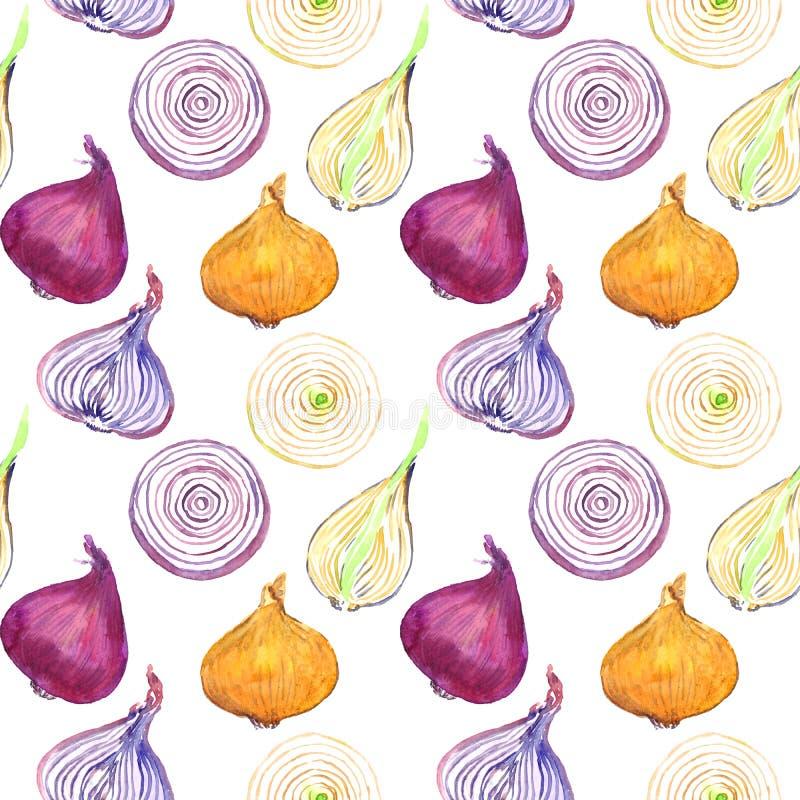 Κίτρινη και κόκκινη πορφυρή φέτα περικοπών ποικιλιών κρεμμυδιών διανυσματική απεικόνιση