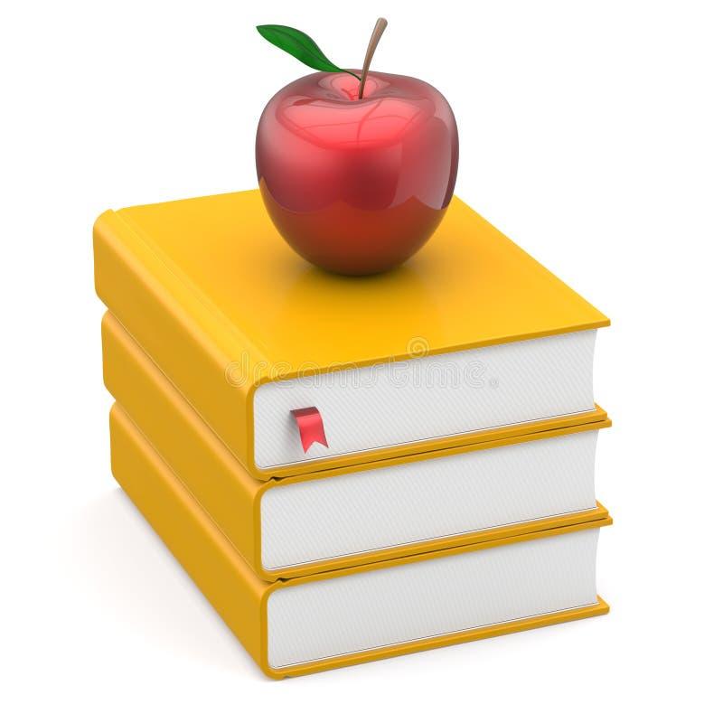 Κίτρινη και κόκκινη φρόνηση μήλων σελιδοδεικτών σωρών εγχειριδίων βιβλίων στοκ φωτογραφίες