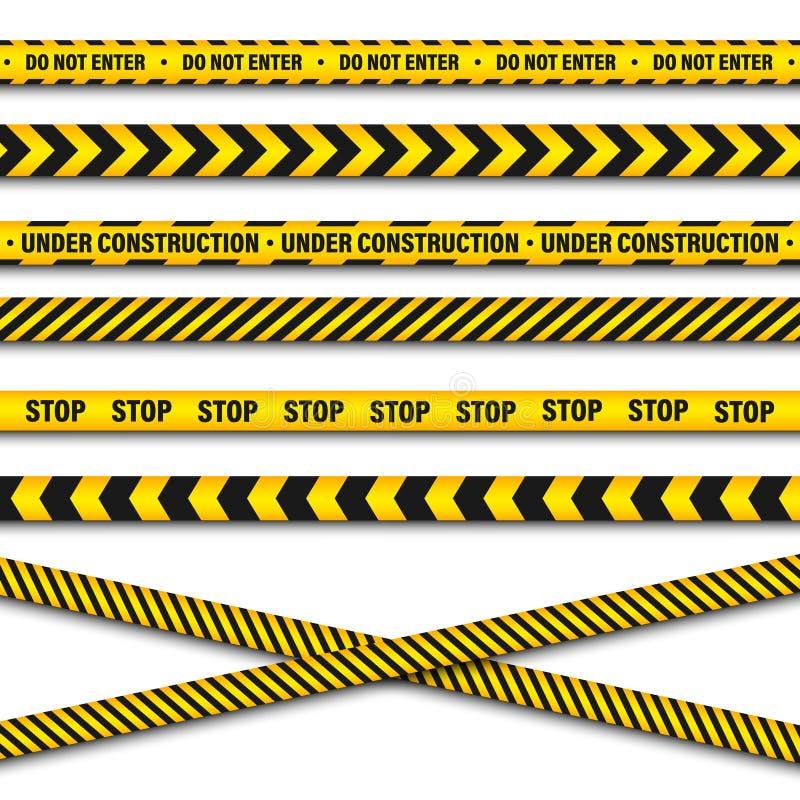 Κίτρινη και μαύρη ταινία κατασκευής οδοφραγμάτων Γραμμή προειδοποίησης αστυνομίας Λαμπρά χρωματισμένο λωρίδα κινδύνου ή κινδύνου  διανυσματική απεικόνιση