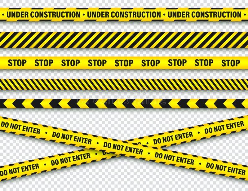 Κίτρινη και μαύρη ταινία κατασκευής οδοφραγμάτων Γραμμή προειδοποίησης αστυνομίας Λαμπρά χρωματισμένο λωρίδα κινδύνου ή κινδύνου  απεικόνιση αποθεμάτων