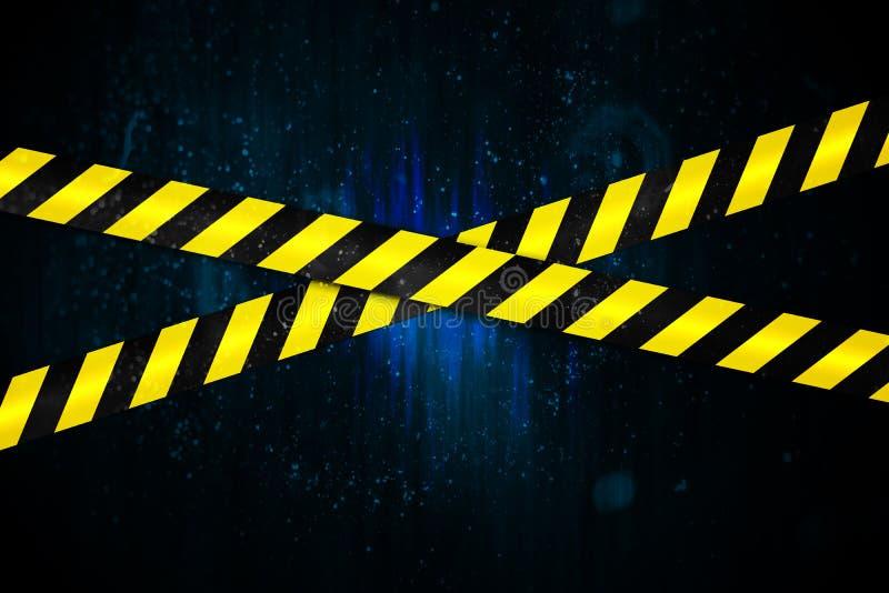 Κίτρινη και μαύρη ταινία κορδονιών διανυσματική απεικόνιση