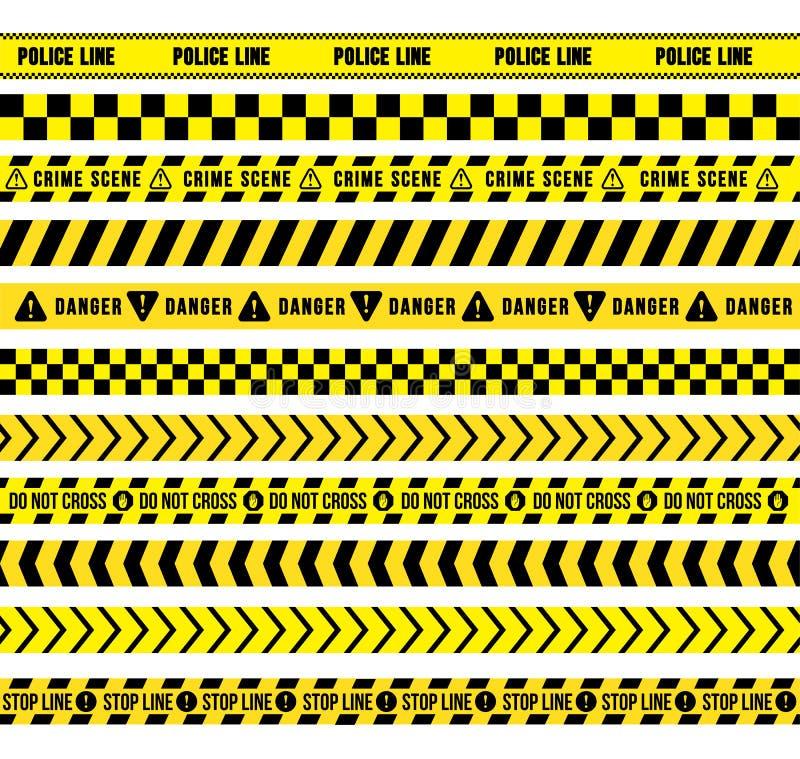 Κίτρινη και μαύρη ταινία προσοχής, άνευ ραφής σύνορα : r o διανυσματική απεικόνιση