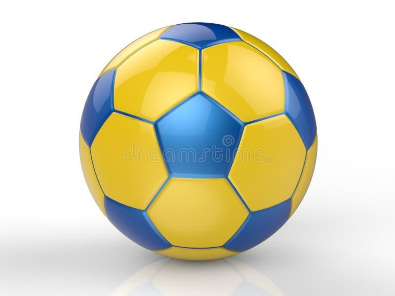 Κίτρινη και μπλε σφαίρα ποδοσφαίρου στοκ εικόνες