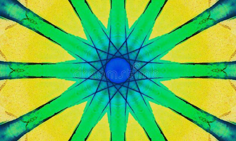 Κίτρινη και πράσινη τέχνη mandala διανυσματική απεικόνιση