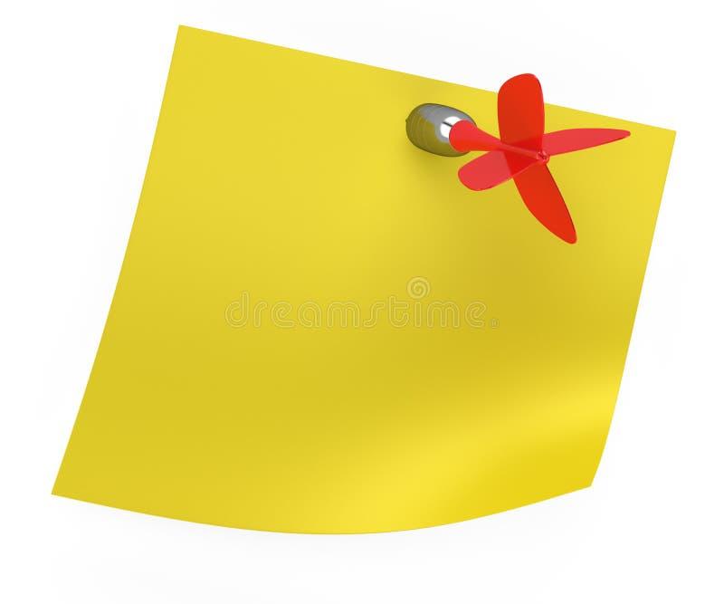 Κίτρινη κολλώδης σημείωση με το κόκκινο βέλος απεικόνιση αποθεμάτων