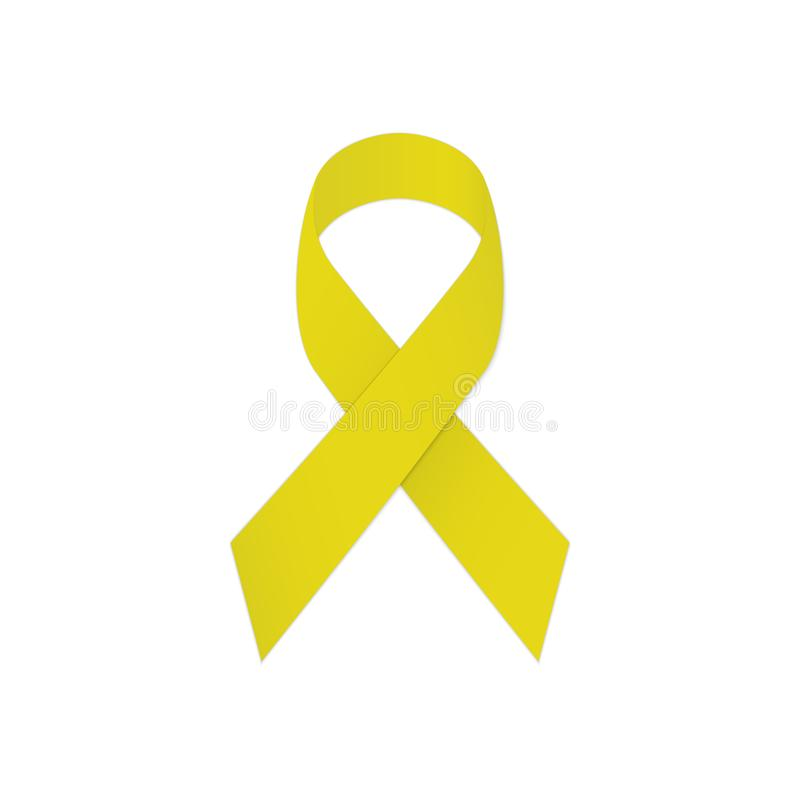 Κίτρινη κορδέλλα σε ένα άσπρο υπόβαθρο Συμβολική πρόληψη αυτοκτονίας ελεύθερη απεικόνιση δικαιώματος
