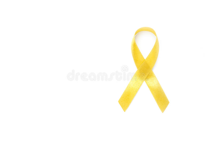 Κίτρινη κορδέλλα συνειδητοποίησης Καρκίνος κόκκαλων, έννοια υγειονομικής περίθαλψης στοκ εικόνες με δικαίωμα ελεύθερης χρήσης