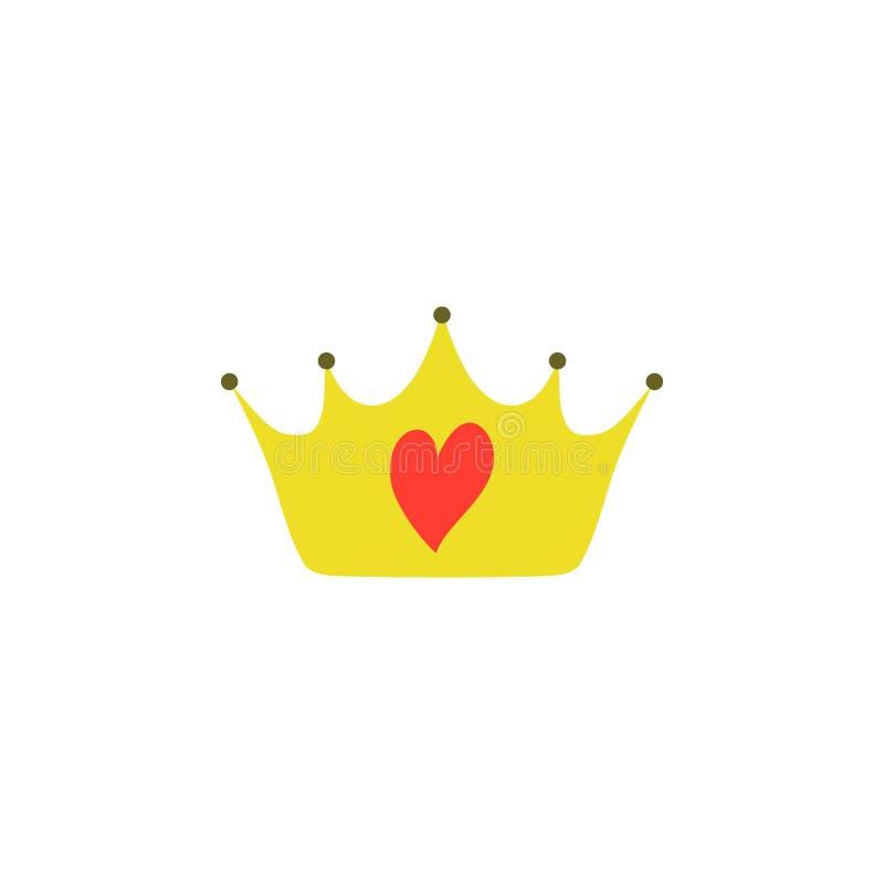 Κίτρινη κορώνα δικαιώματος πριγκηπισσών Girly με τα κοσμήματα καρδιών απεικόνιση αποθεμάτων