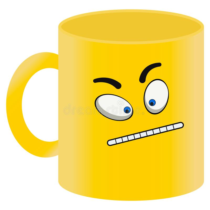 Κίτρινη κούπα με το χρωματισμένο κακό πρόσωπο σε ένα άσπρο υπόβαθρο ελεύθερη απεικόνιση δικαιώματος