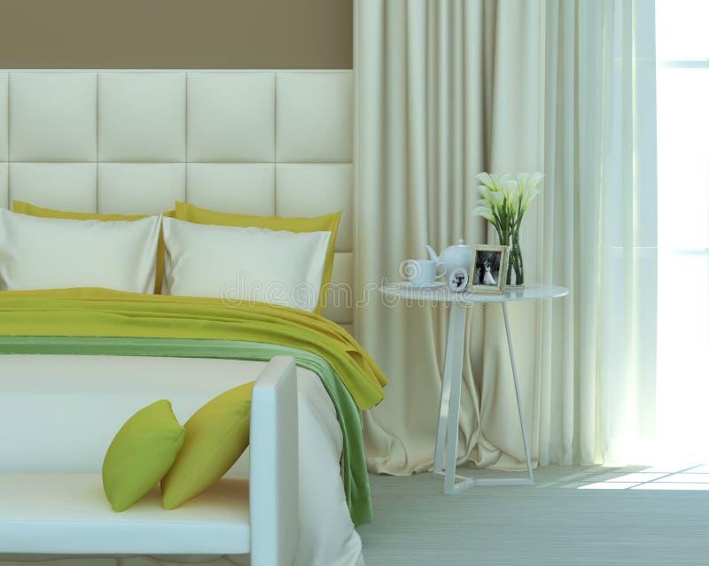 Κίτρινη κρεβατοκάμαρα στοκ εικόνες με δικαίωμα ελεύθερης χρήσης