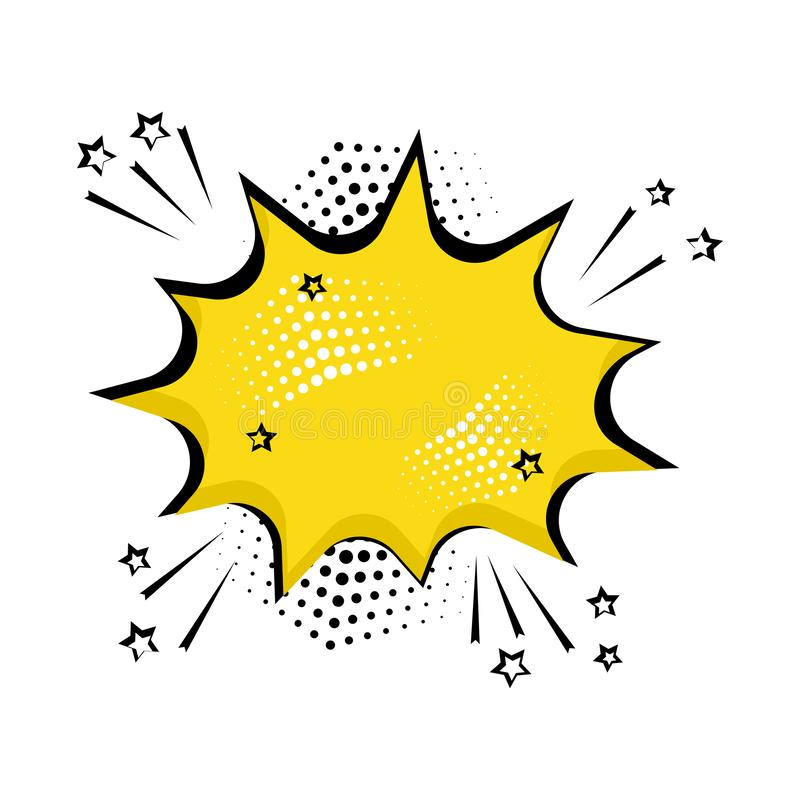 Κίτρινη κωμική φυσαλίδα για το κείμενό σας Κωμικά υγιή αποτελέσματα στο λαϊκό ύφος τέχνης r διανυσματική απεικόνιση